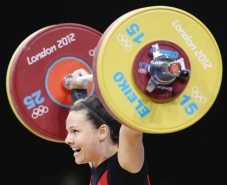 Christine snatching 105kg at the 2012 Olympic Games in London, credit @ VancouverSun
