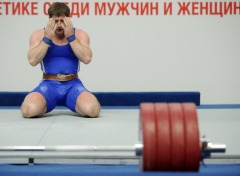 Russian Khadzhimurat Akkaev reacts as he